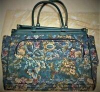 ATLANTIC Vintage Luggage 18quot; Green Floral Tapestry Carry On Weekend Bag
