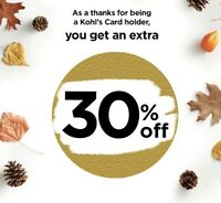 VALID 9 26 Only Kohls Coupon 30% Off w Any Payment Method In Store Online