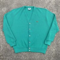 Izod Lacoste Vintage Teal Cardigan Sweater Size Large Made in USA