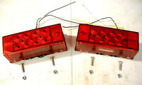 2- Red New Style LED Low Profile Boat ATV Trailer TailLight Snowmobile Brake 3x8