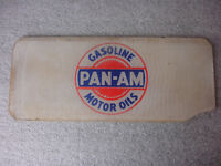 Original Old Vtg PAN-AM Gas Pump Glass Insert Sign Plate Advertisement Motor Oil