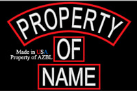 CUSTOM EMBROIDERED PATCH SET PROPERTY OF NAME EMBROIDERY TAG SET MADE IN USA