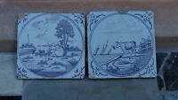 SET OF 2 ANTIQUE 18C MANGANESE  ENGLISH BRISTOL HANDPAINTED TILES