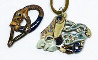 2pc Ben Sams Funk Pottery Sculptural Face Pendants - Jewelry NW Archie Bray