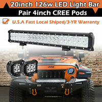 20INCH 126W CREE LED LIGHT BAR FLOOD SPOT COMBO OFFROAD JEEP SUV ATV 4WD DRVING