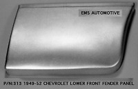 Chevrolet Chevy Car Lower Rear of Front Fender Patch Right 1949-1952 #313R EMS