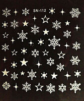 Christmas SILVER Glitter Snowflakes Stars Nail Art Stickers Decals Transfers 112