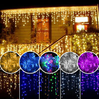 96-1500 LED Hanging Icicle Curtain Lights Outdoor Fairy Xmas String Wedding Lamp