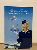 Pan am pan American metal sign vintage baked large Reproduction