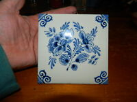 Hand Painted Delft Tile Wall Hung Flower Floral Blue amp; White D.P