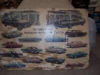 1972 Chevrolet Dealer Showroom Poster Impala Camaro Chevelle Corvette Nova Capri