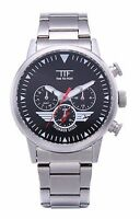 Thunder Eagle Aviator Pilot MultiFunction Quartz Stainless Steel Mens Wristwatch