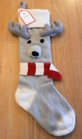 New Pottery Barn Kids Natural Fair Isle REINDEER FACE Christmas Holiday Stocking