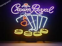 New Crown Royal Whiskey Poker Chips Real Neon Sign Beer Bar Light FREE SHIPPING