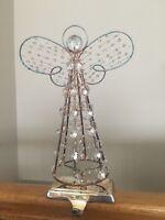 POTTERY BARN ANGEL STOCKING HOLDER Christmas Mantle Hanger SILVER CRYSTAL BEADED