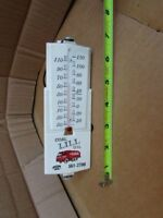 Vintage Antique Trucking Coal Oil Telephone Tin Thermometer