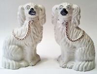 Staffordshire Spaniel White Dogs Pair Antique Brown Chain Fireplace Guards Decor