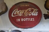 Vintage 1950's Coca Cola Coke Flat Edge Round Button Sign Advertisement