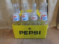 Vintage 8 Pack of Pepsi-Cola 16 oz. Bottles in Yellow Plastic Carrier #2059
