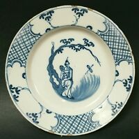Antique English Delft Plate Chinoiserie Asian Style Blue & White