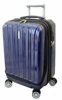 """20"""" Carry on Luggage Expandable Spinner Trolley Zippered Computer Pocket Black"""
