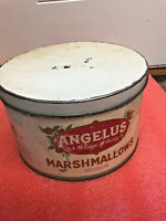 BS7 Vintage 1900s The Cracker Jack Co. Angelus Marshmallows 5lb Tin with Lid
