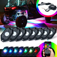 Xprite 8PCS RGB LED Multi-Color Rock Lights For Underglow Off Road