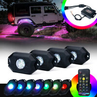 Xprite 4PC Victory Series Remote Control RGB LED Rock Lights for Jeep Truck UTV