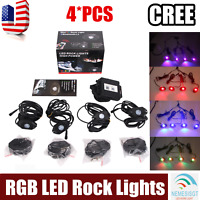 4X Pods RGB LED Rock Light Offroad Wireless Bluetooth Music Controller ATV Truck