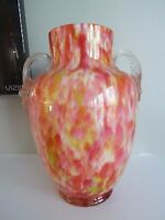 ANTIQUE Frank WELZ Glass Czech Bohemian SPATTER CASED Vase Applied HANDLES 9