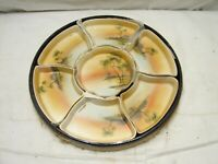 Antique Nippon Nut Set Chip Dip Serving Tray w orig Hand Decorated Box