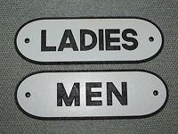 Vintage Retro Style Wooden Ladies amp; Men Black amp; White Restroom Signs Set
