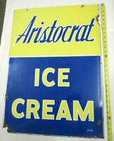 ARISTOCRAT ICE CREAM SIGN DOUBLED SIDED PORCELAIN SIDEWALK ADVERTISING RARE OLD