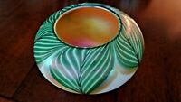 Signed LUNDBERG Studios Art Glass MAGNOLIA Rose BOWL Pulled Feather Green