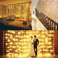 6M 600LED Window Curtain Icicle String Fairy Light Wedding Party Home Yard Decor