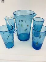 Murano Italy Millefiori Blue  Glass Pitcher & 4 Glasses MINT