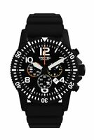 NEW Trintec Aviation Co-Pilot Chronograph Black Stainless Watch Quartz w 2xBand