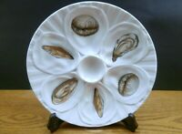 VINTAGE OYSTER PLATE(S) FRANCE FAIENCE /MAJOLICA  6 WELLS  EX COND CLAMS,MUSSLES