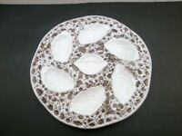 VINTAGE ORFINOX  ART POTTERY OYSTER PLATE  TEXTURED  ALSACE FRANCE EX COND
