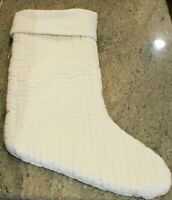New Pottery Barn Velvet Channel Quilted Christmas Holiday Stocking- 24