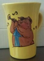 Vintage Coffee Mug , Featuring a Pig Playing the Clarinet.   Yellow