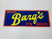 Vintage Barq's Root Beer Cardboard Advertising Sign Day-Glo Barqs