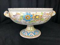 Beautiful Vintage Large Vincenzo Pinto Vietri Italy Pottery Footed Serving Bowl