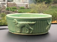 Vintage R. R. P. Roseville Bowl W Dogs in Relief. N P I.
