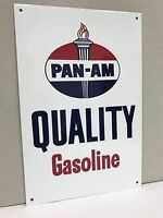 Pan-AM Quality Gasoline oil gas metal sign standard