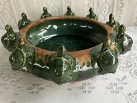 VINTAGE MAJOLICA STYLE ART POTTERY 10 TURTLE ON LILY PAD BOWL/BAMBOO PLANTER #1