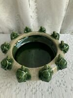 VINTAGE MAJOLICA STYLE ART POTTERY 10 TURTLE ON LILY PAD BOWL/BAMBOO PLANTER #2