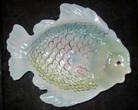 Set of 2 LUSTREWARE FISH Shaped Plates Made in Italy Ceramic White Blue Pink