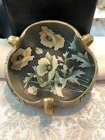 Nippon Hand-painted Trinket Bowl Dish Floral Motif With Golden Handles