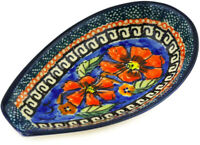 Polish Pottery Spoon Rest 5quot; Poppies UNIKAT